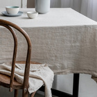 Stone washed Square luxury table cover 100% Flax Natural linen Table Clothes For banquet use