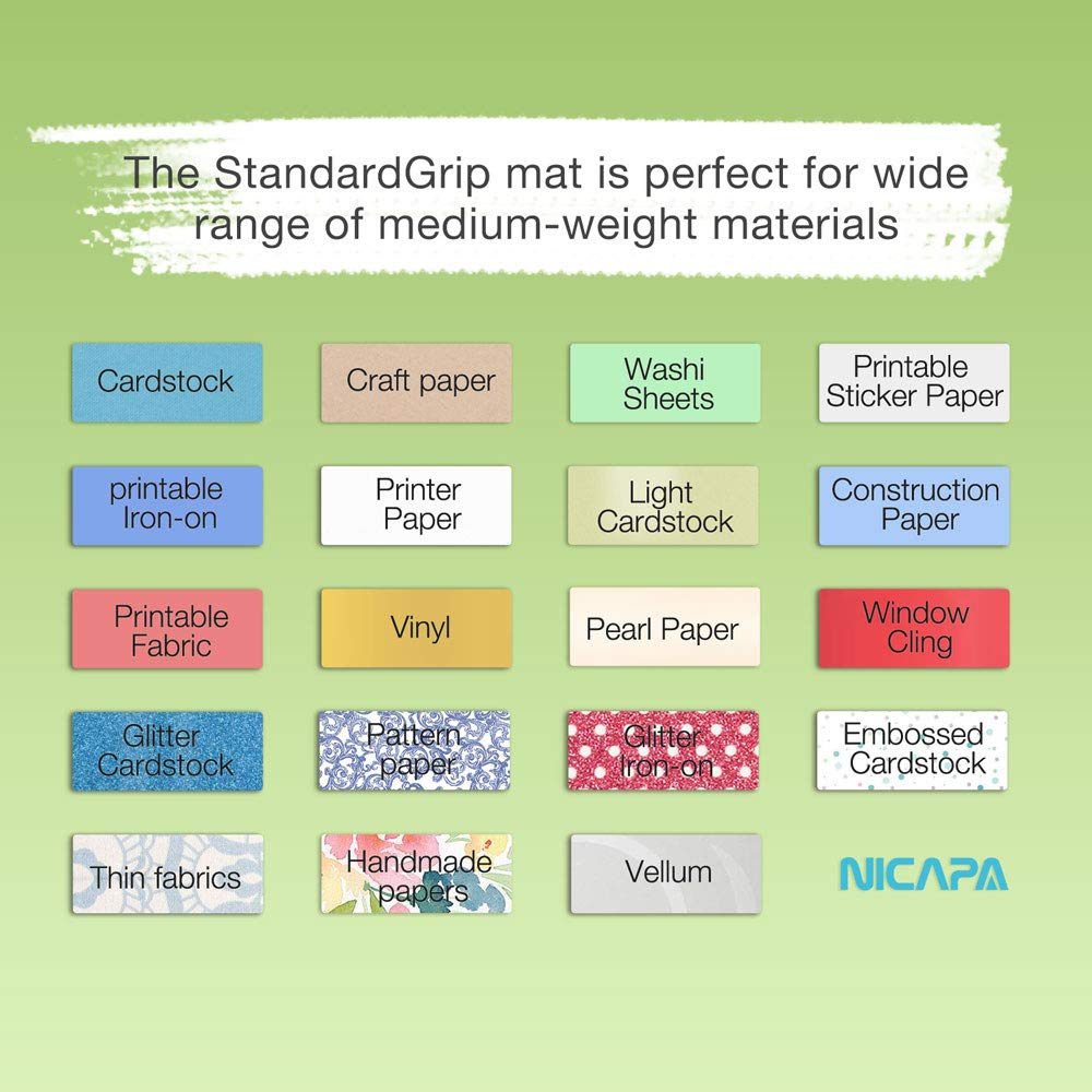 Nicapa Cutting Mat for Silhouette Cameo 3/2/1 Cut Mats Replacement (Standardgrip,12x12 inch,1piece)