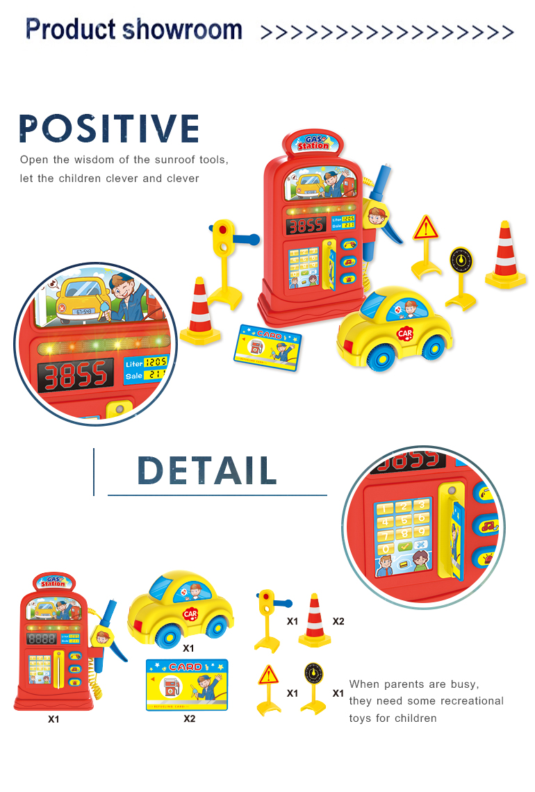 Educational game machine plastic mini children pretend play gas station toy