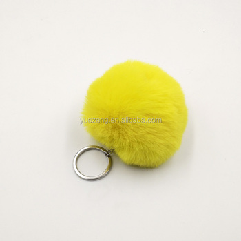 Newest real animal fur ball fur pom keychain as promotion gift pom pom fur for hat