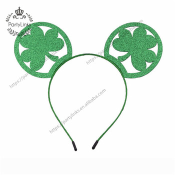 Minnie Mouse Ears Headband St Patrick Day Hairband For Girls Women Party Hair Accessories Headwear