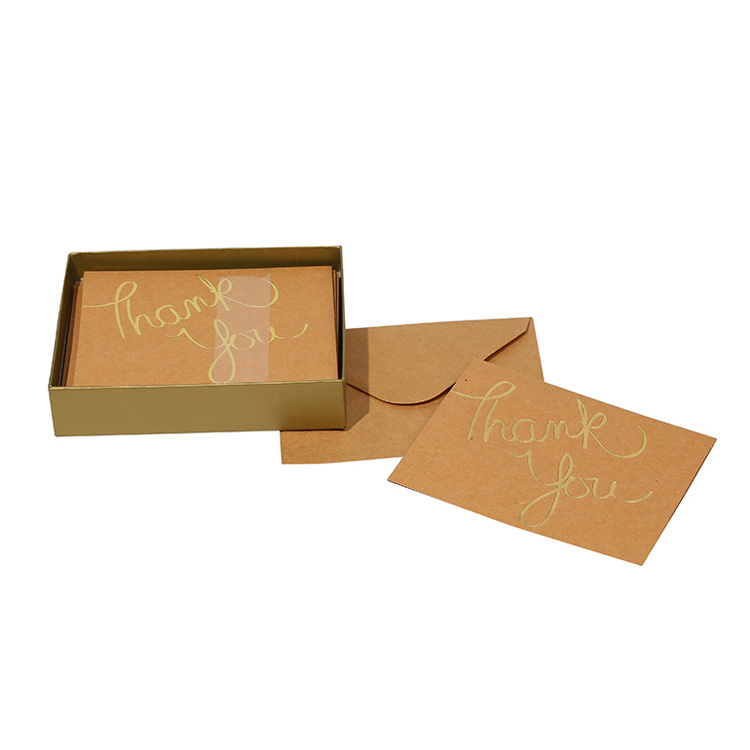 Gold Foil Brown Kraft Boxed Card, Cheaper Price Christmas Gift Invitation Greeting Cards