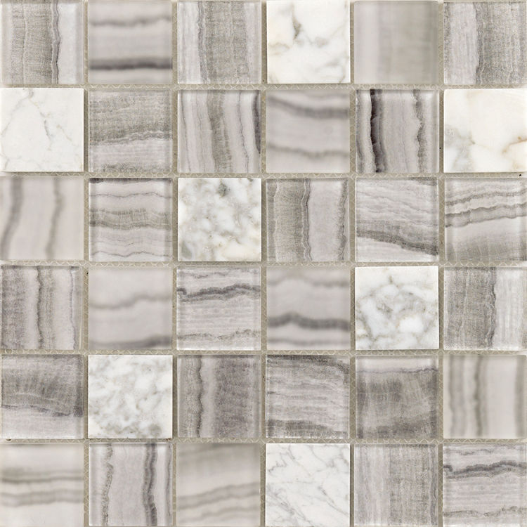 Top Selling Laminated Glass mixed stone Mosaic tile Grey Mosaic Use for Wall and kitchen Foshan China