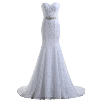 2019 new model illusion strapless lace up bride gowns cheap wedding dress with train