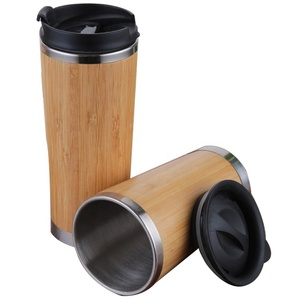 New Design Bamboo Mug Coffee Cup Stainless Seel Thermo with Lid