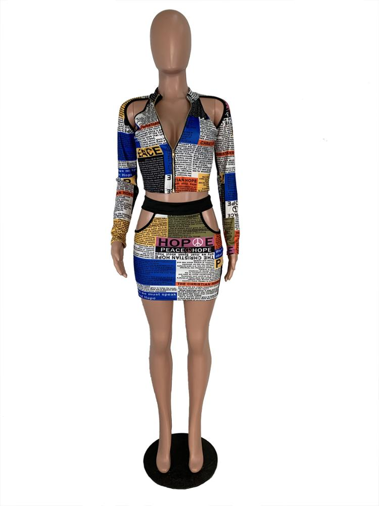 MF7263 - ladies stylish newspaper hollow out skirts and zip up crop top two piece se
