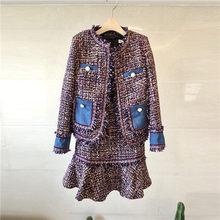 Женский модельный костюм, элегантный офисный деловой твидовый Блейзер, пиджак, пальто, мини-платье, комплект из 2 предметов(Китай)