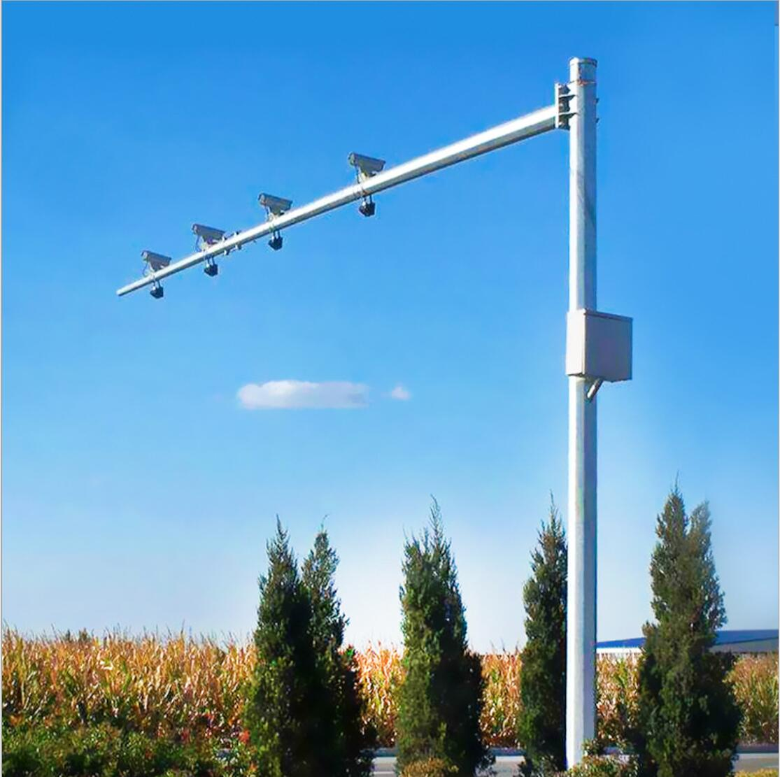 Octagonal Hot dip galvanized Traffic light post and column mounted on intersection