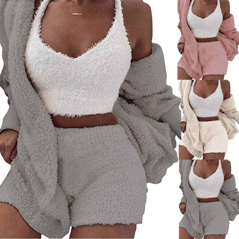 3 Pieces/set Soft Pajamas Fleece Plush Hooded Women Sleepwear Nightwear Tops+Shorts+Coat