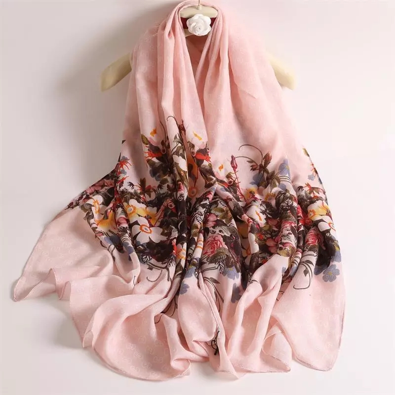 100%polyester satin silk feel soft long scarf for women