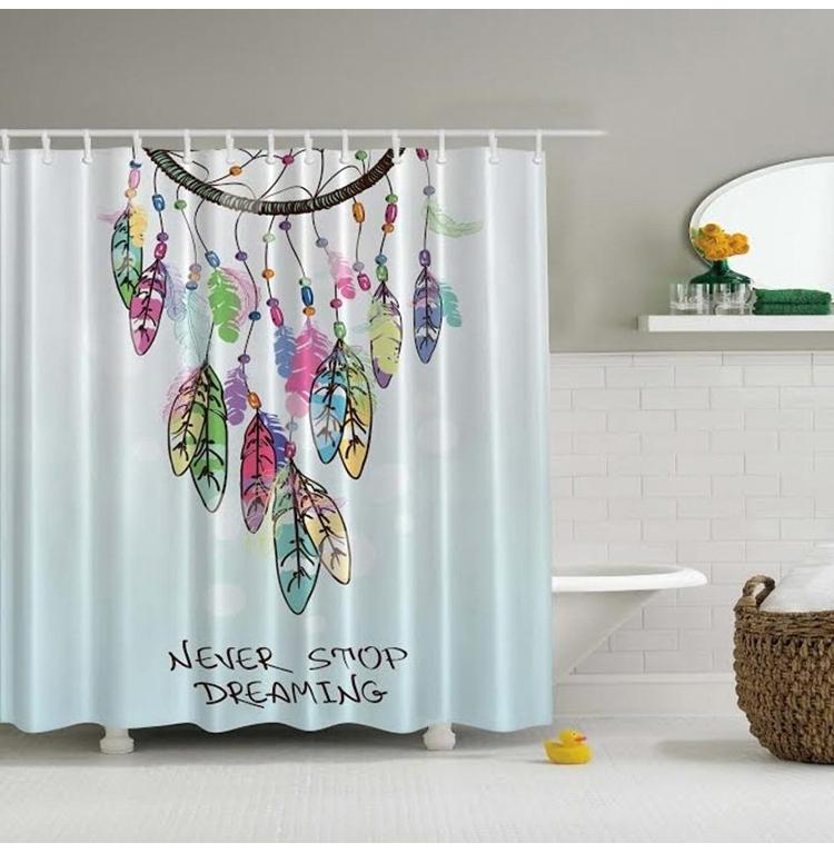 Glam Européen imprimé ensembles de salle de bains 180x180 dreamcatcher boho rideau de douche