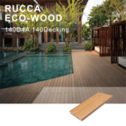 Wood Decking Fiber Composite Wood Decking Rucca Outdoor Wood Plastic Decking Embedded Steel Core WPC Pool Deck Flooring 140*25mm Fiber Wood Composite Decking Materials