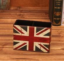 Sharkbang винтажный Настольный держатель из искусственной кожи для ручек Настольный органайзер коробка для хранения школьные офисные канцеляр...(Китай)