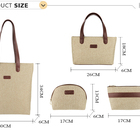 custom luxury linen zipper ladies pouch bags 4 pcs women handbag sets