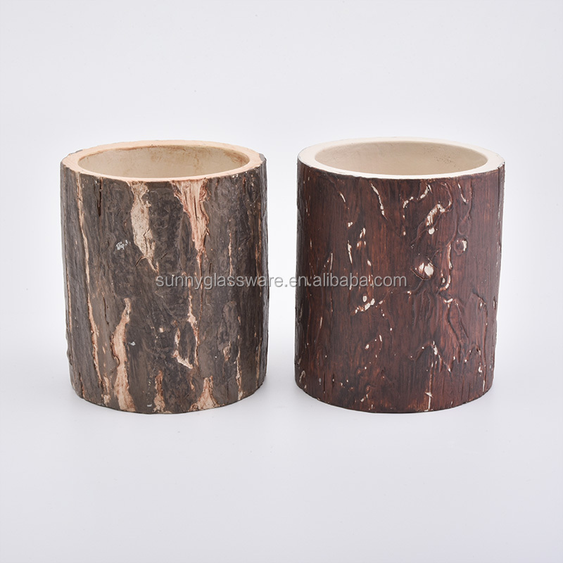 vintage natural cylinder cement candle holders