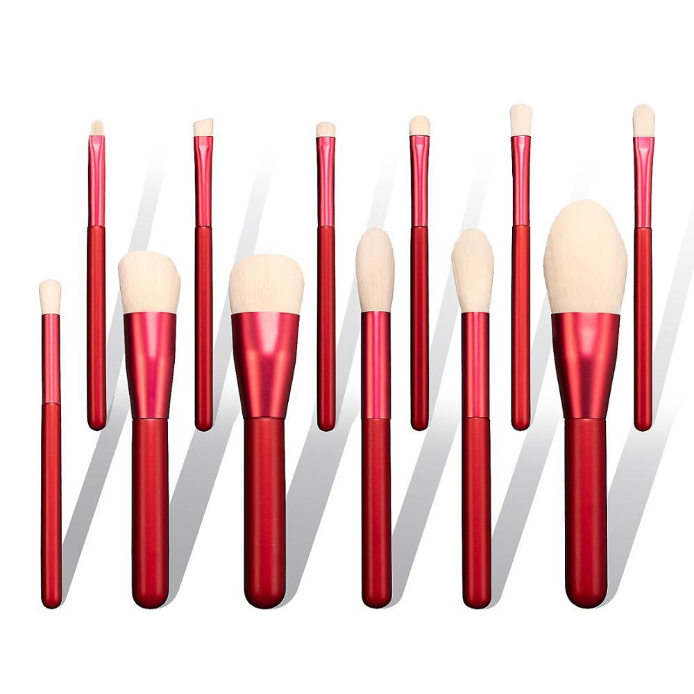 High Quality 10 Pieces Red Free <strong>Makeup</strong> Brush <strong>Samples</strong> double end <strong>makeup</strong> brush set with private label