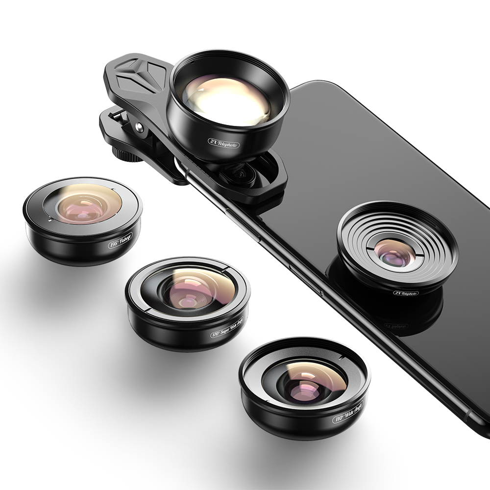 APEXEL Top seller 5 in 1 mobile camera Lens kit wide angle macro fisheye telephoto smartphone lens for iPhone 11