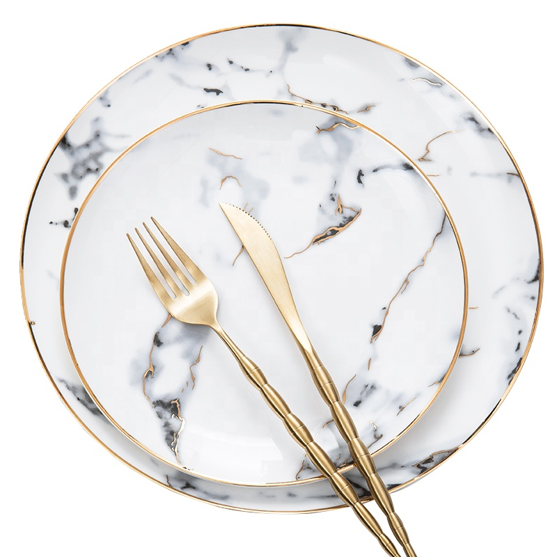 Nordic Unique gold rimmed porcelain <strong>plate</strong> marble dinnerware set round Western Ceramic cheap <strong>plates</strong>
