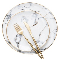 Nordic Unique gold rimmed porcelain plate marble dinnerware set round Western Ceramic cheap plates