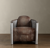 Aviator Retro Style Industrial Chair Dark Brown Genuine Leather