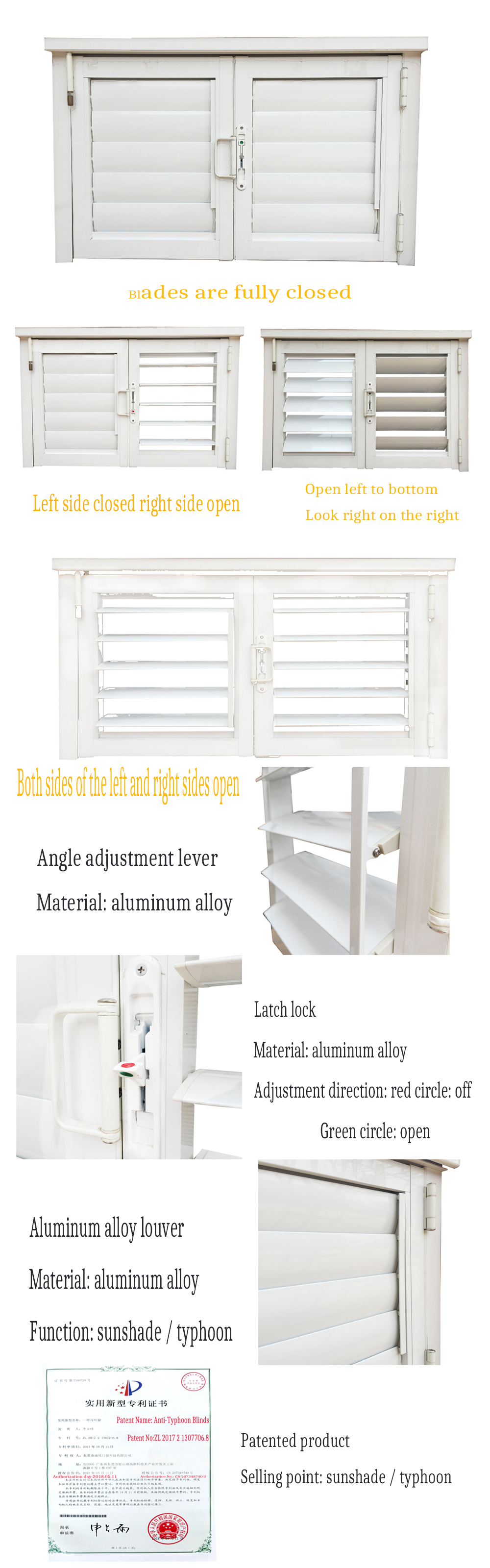Blind Inside Double Glass Aluminium Casement Window With Louver