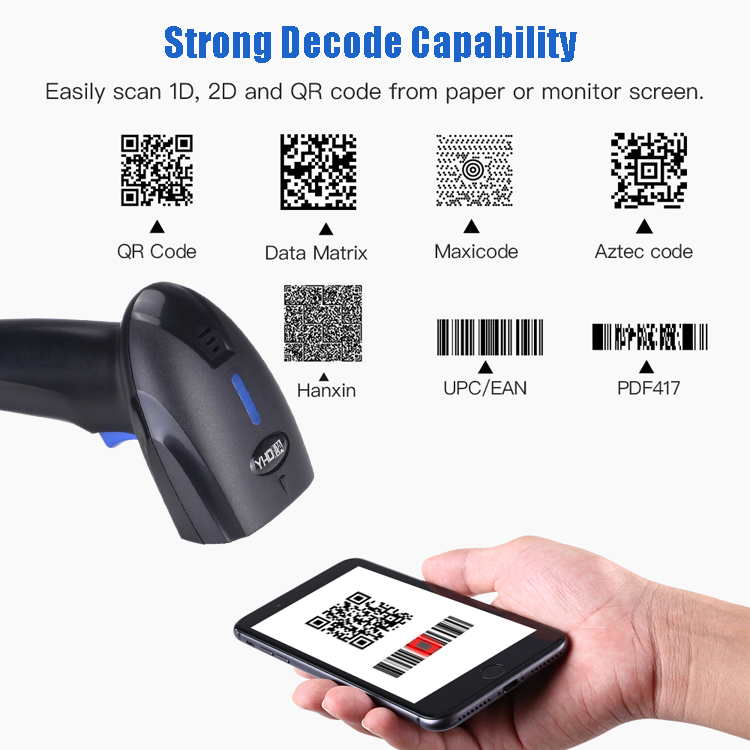 New Design 1D QR 2D Bluetooth Barcode Scanner Handheld Bar Code Reader Android IOS LINUX MAC Use