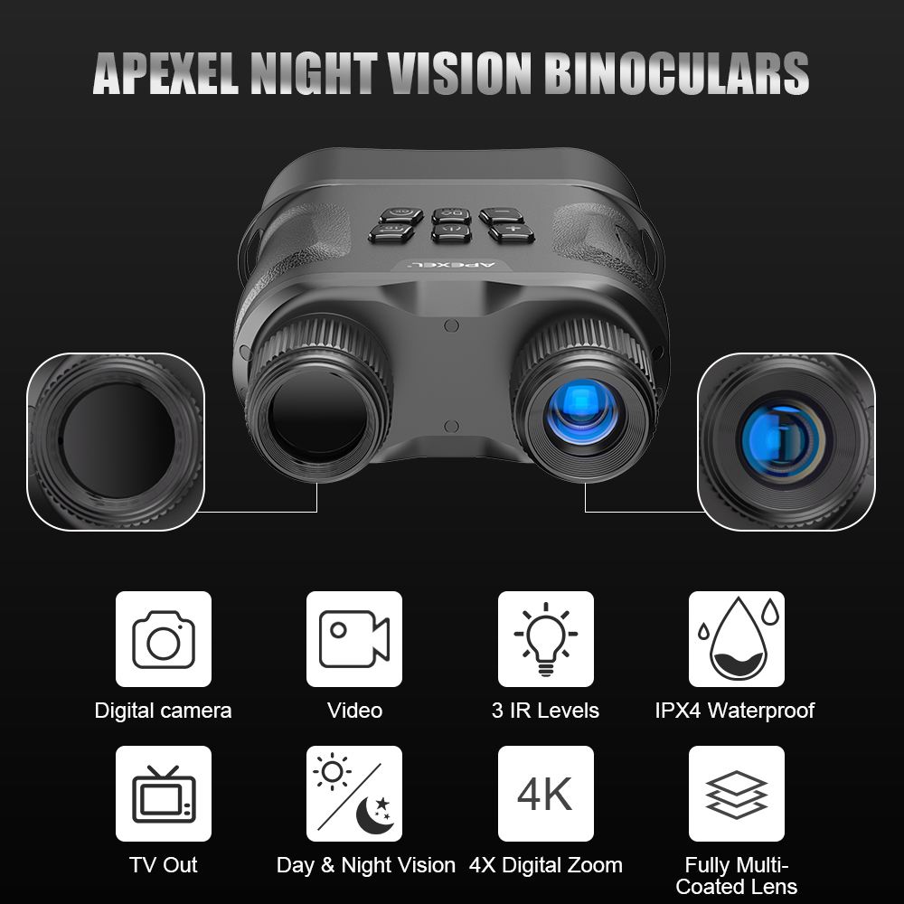 Apexel heat thermo video recorder binoculars infared hunting long distance night vision binoculars for spotting scope