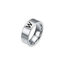 Модные кольца для пар с буквенным принтом, мужские стильные кольца из нержавеющей стали для женщин, обручальные кольца с надписями, инициал...(Китай)