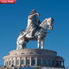 Giant Genghis Khan Stainless Steel Horse Statue for Outdoor