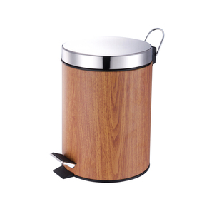 Wood Print color dustbin foot pedal garbage bin waste trash can household items household ware