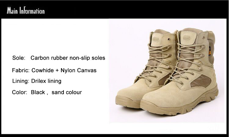 Sand Color Outdoor Military Army Police Tactical Desert Combat Ankle Boots Walking Hunting Men Combat Tactical Boots