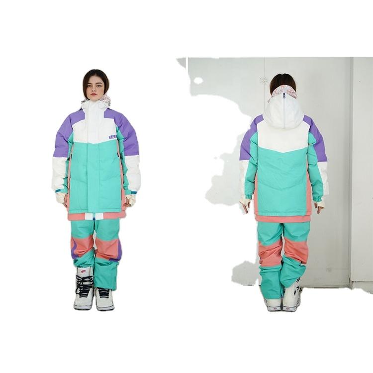 OEM/ODM Purple Green Long Outdoor Sports Suit Coat Active Ski Snowboard Woman Custom Logo Winter Jacket