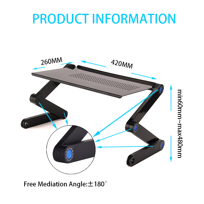 Portable Height Adjustable Computer Foldable Laptop Desk with Cooling Holes