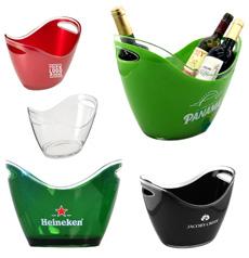 批发优质便携式 12L 野餐平环保 PS 塑料手持定制标志印刷酒吧冰桶