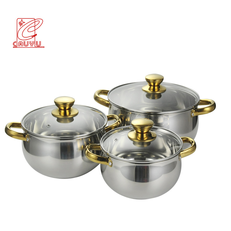 Newest 12pcs Stainless Steel Thomas Inox Cookware Set Inox Cooking Pot With Gold Handle