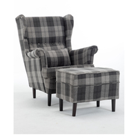 french style modern tartan highback high back luxury wingback velvet wing back chair sofa with ottoman for living room