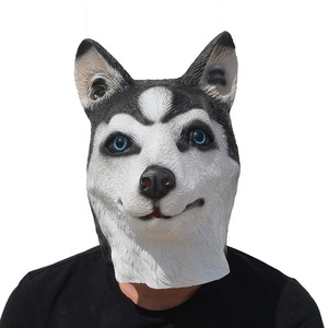 Husky Wolf Dog Animal Head Latex Mask Party Costumes Fancy Dress Carnival Mask Gray