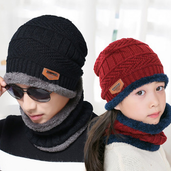 Winter fleece knitted collar two-piece neckerchief beanies, dad hat parent-child wool custom hats, wholesale family fashion cap