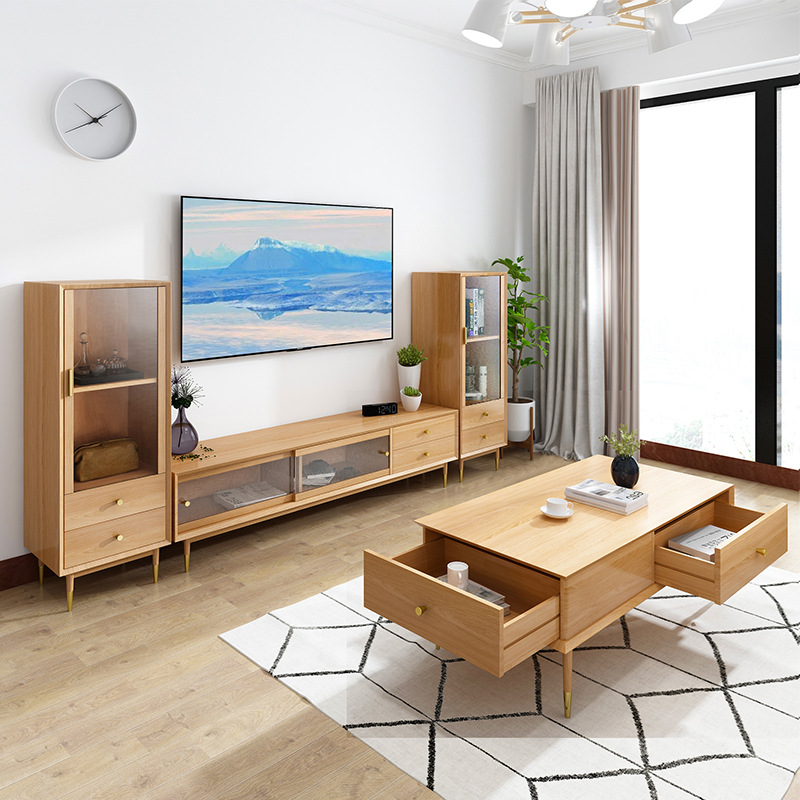 product-BoomDear Wood-tv cabinet living room stand wooden furniture with showcase pictures set moder