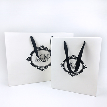 Custom Luxury Printed White Packaging Commercial Gift bags , Boutique Shopping Paper Bag