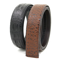 New Crocodile Grain Cowhide Genuine Leather Belt Strap Men's Automatic Buckle Belt Without Buckles Factory