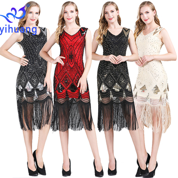 Vintage Women's Flapper Dresses 1920s V Neck Beaded Fringed Great Gatsby Sequin Tassel Dress Party Outfits