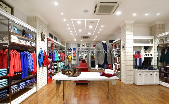 Rack Stainless Steel Cloth Showroom Customized Men Suit Clothing Store Interior Design