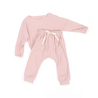 Boutique Toddler Clothes Simple Design O-neck Ribbed Cotton Fabric Pure Color Baby Sets
