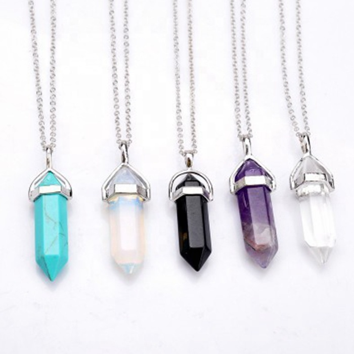 MECYLIFE Hot-selling <strong>Natural</strong> Stone Necklace <strong>Amethyst</strong> Gemstone <strong>Pendant</strong>