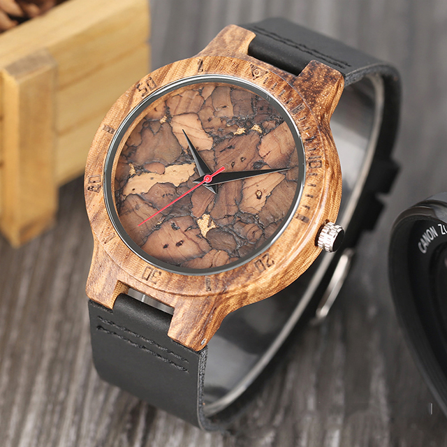 Custom Logo new design zebra wood male table broken leaf wood literally wooden watch