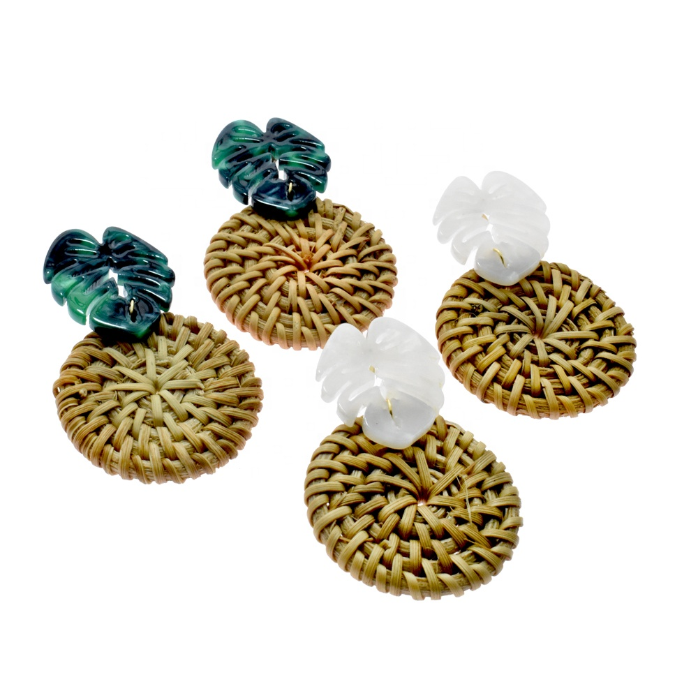 New fashion women jewelry acrylic acetate tortoiseshell leaf earrings round shape handmade rattan wicker earring