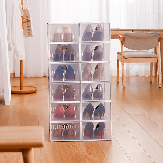 SHIMOYAMA Transparent PP Plastic Shoe Box Stackable Drop Front Shoe Box Drawer