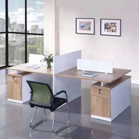 modern design 4 seats wooden workstation office staff working desks