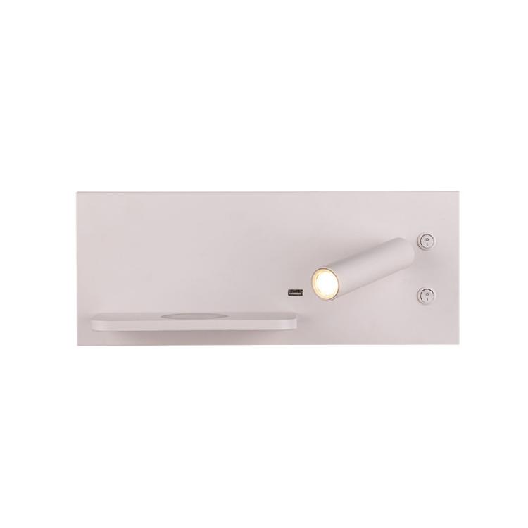 מפעל מחיר התאמה אישית רעיון חדש עיצוב עץ קיר מנורת עם led קריאת אורות עם טלפון אלחוטי טעינה עבור מלון